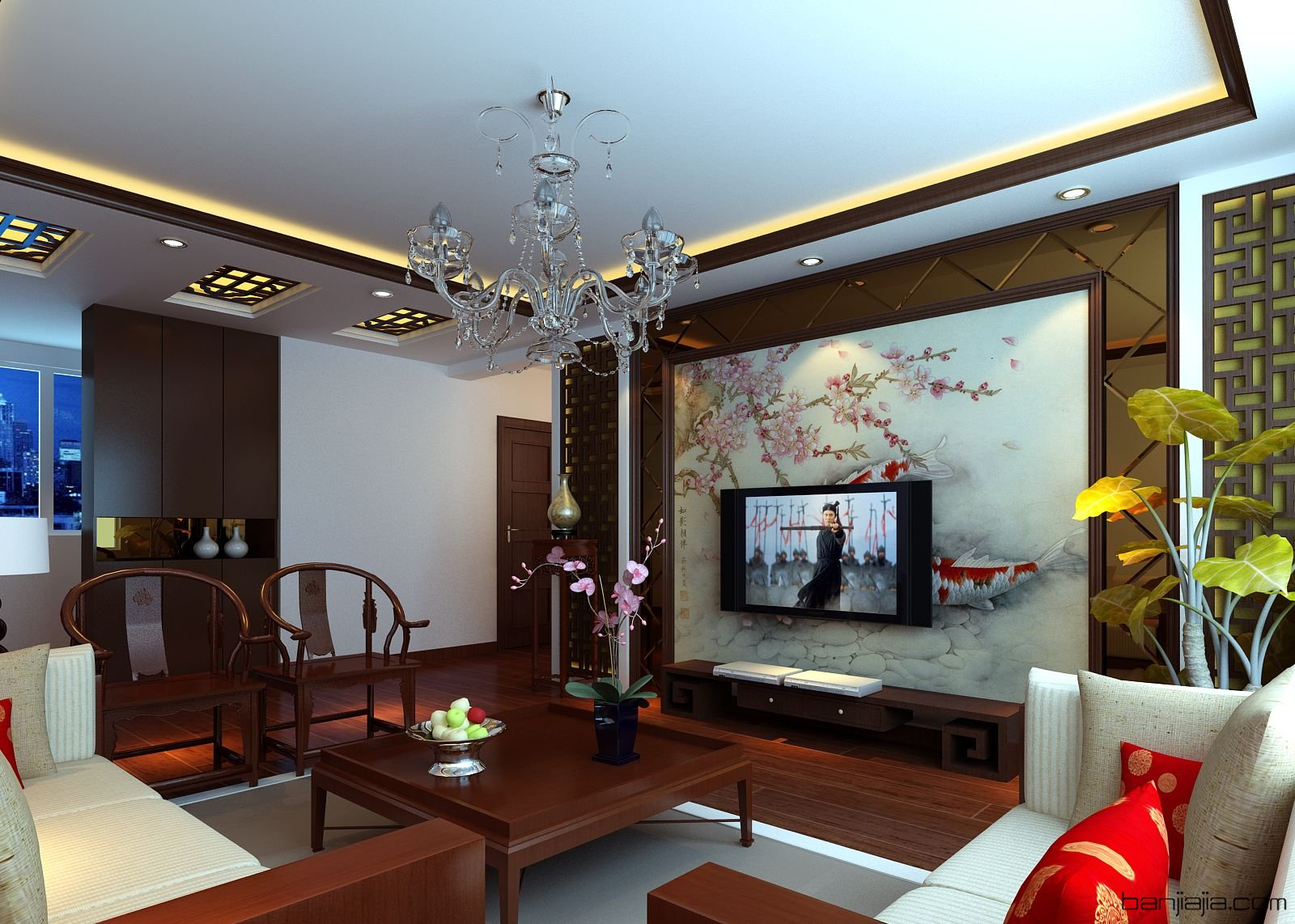 中式场景客厅-室内设计师平台 -室内设计论坛-扮家家