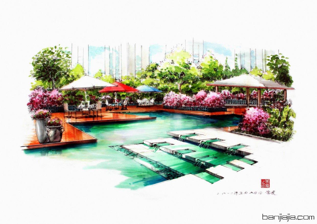 作品曾发表于《景观设计表现》  《室内设计表现技法》 《景观快题
