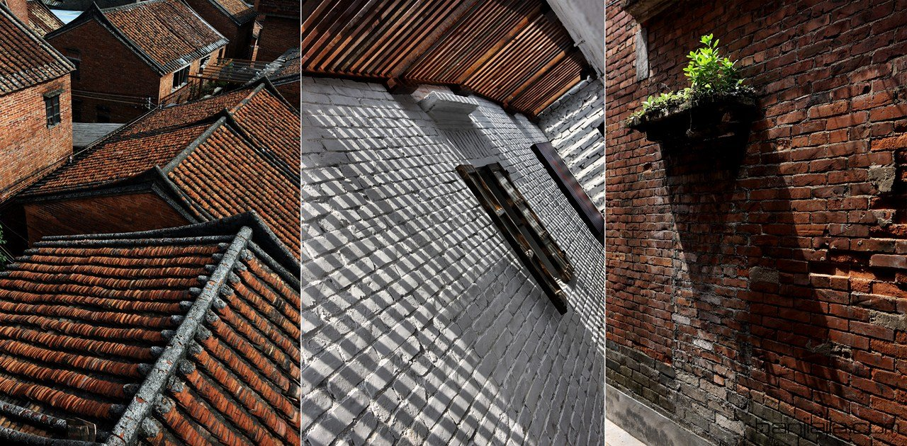 设计师利用连通上下层的楼梯间,屋顶采用的透明玻璃与原木,给白色的砖