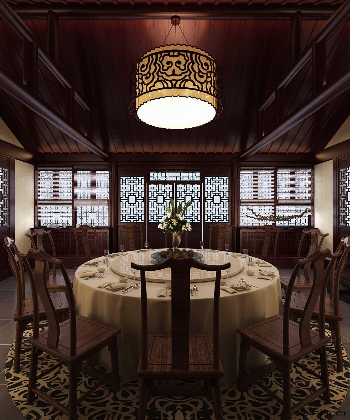 中式餐厅四合院 - 扮家家室内设计网