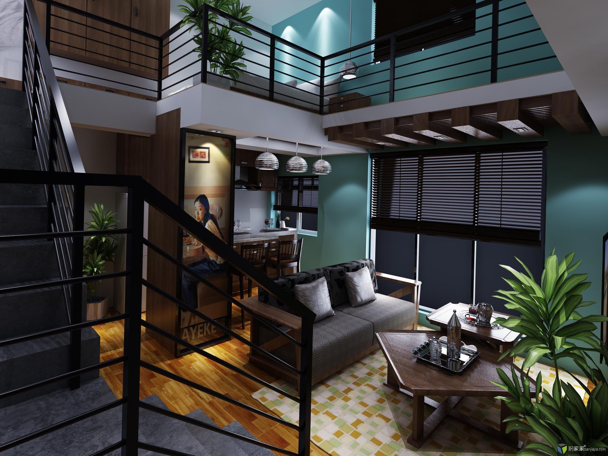 复式单身公寓(闲制) - 扮家家室内设计网