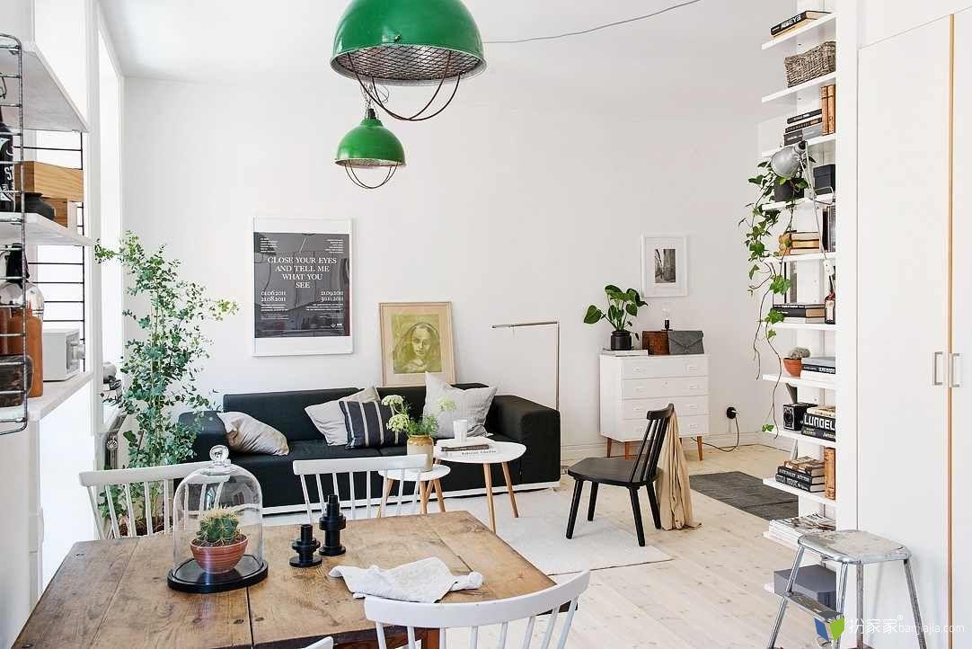 哥德堡一居室北欧风白色公寓设计 - 扮家家室内设计网