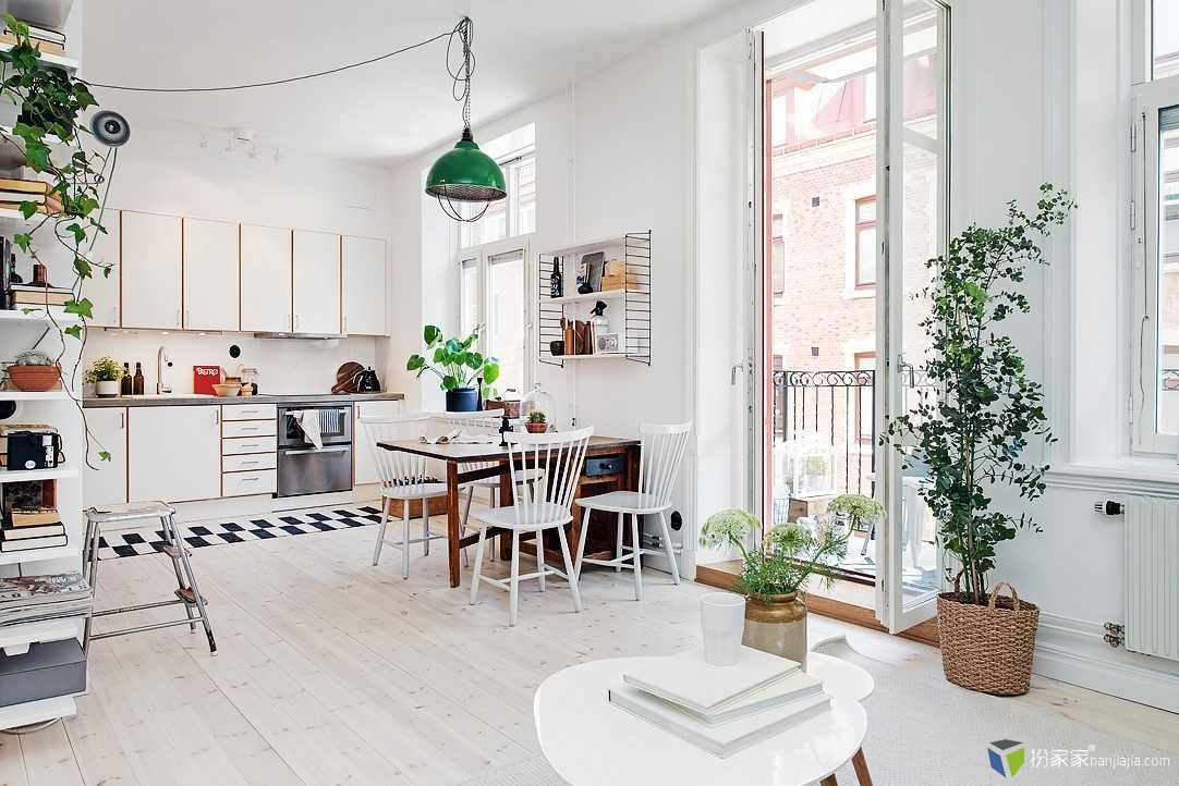 哥德堡一居室北欧风白色公寓设计-室内设计师平台