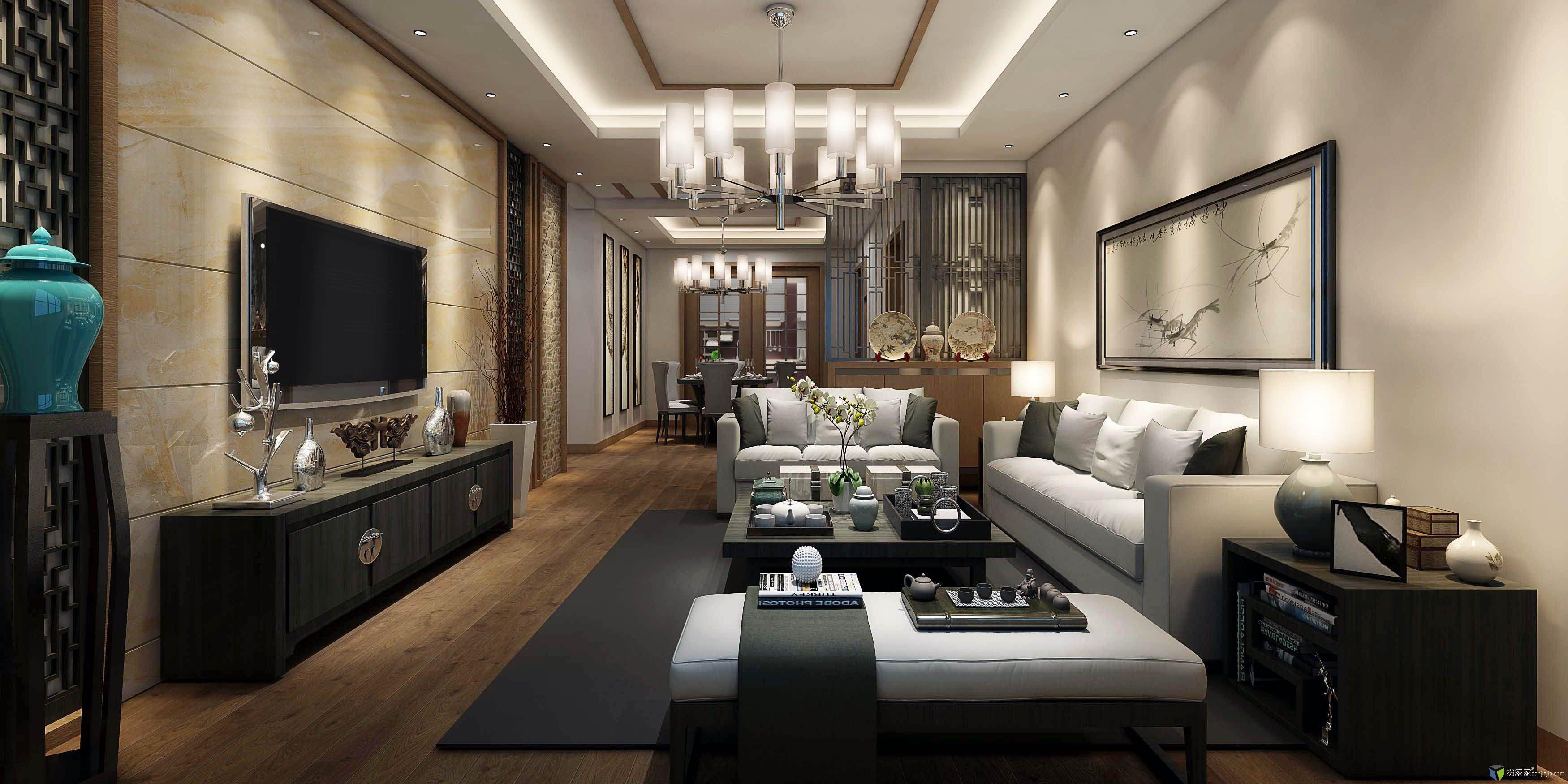 中式客餐厅效果图-室内设计师平台 -室内设计论坛-扮