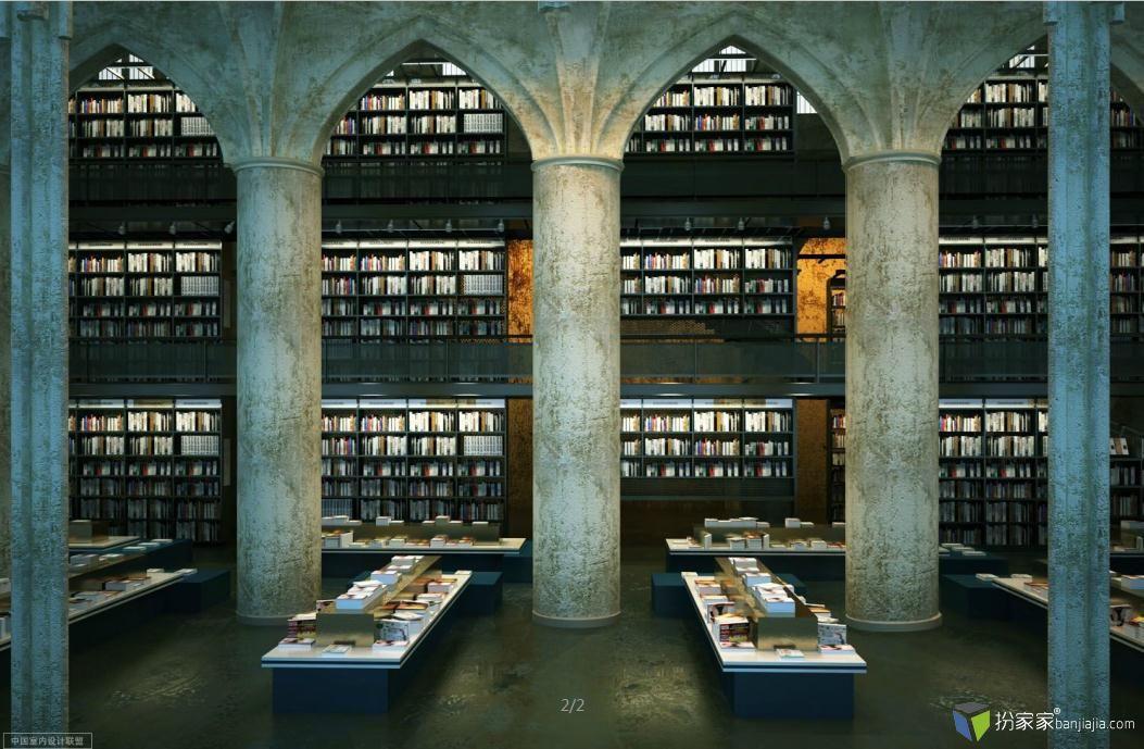 国外图书馆写实场景