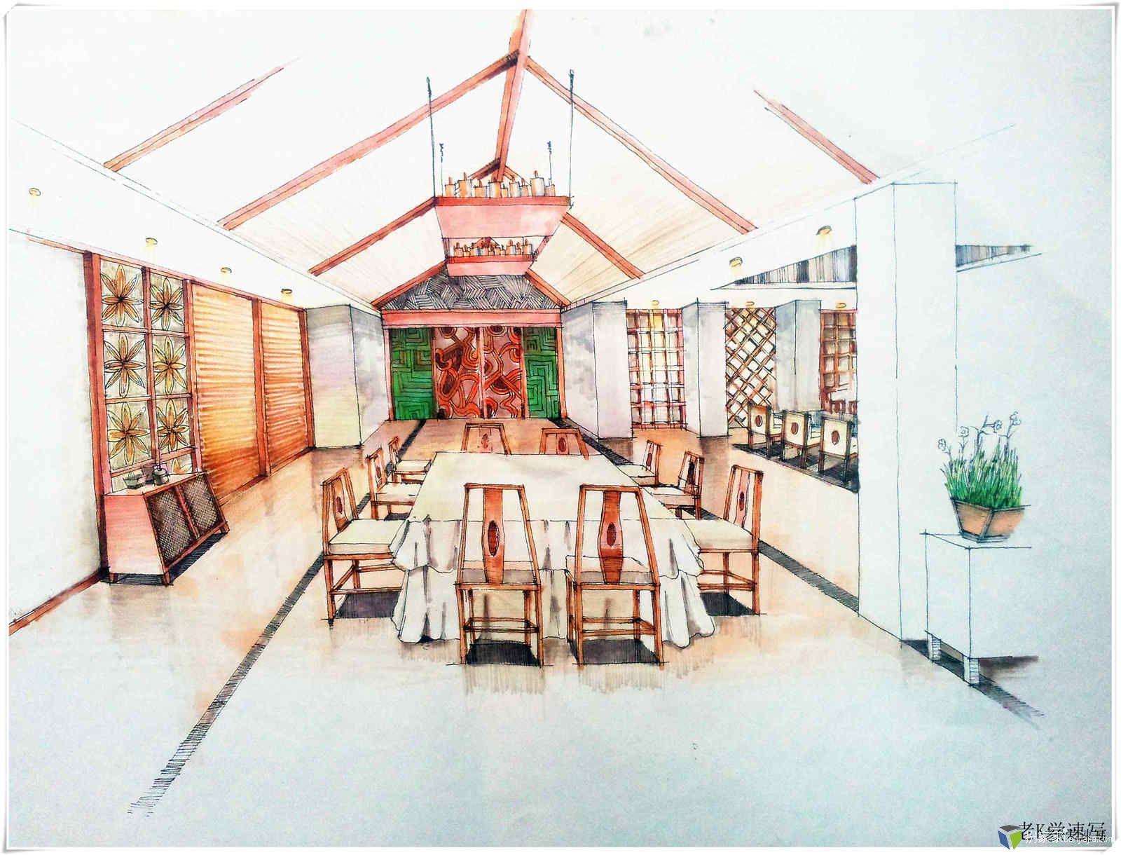手绘学习方案,【4】 手绘组合家具线稿的画法,技巧及其练习方法