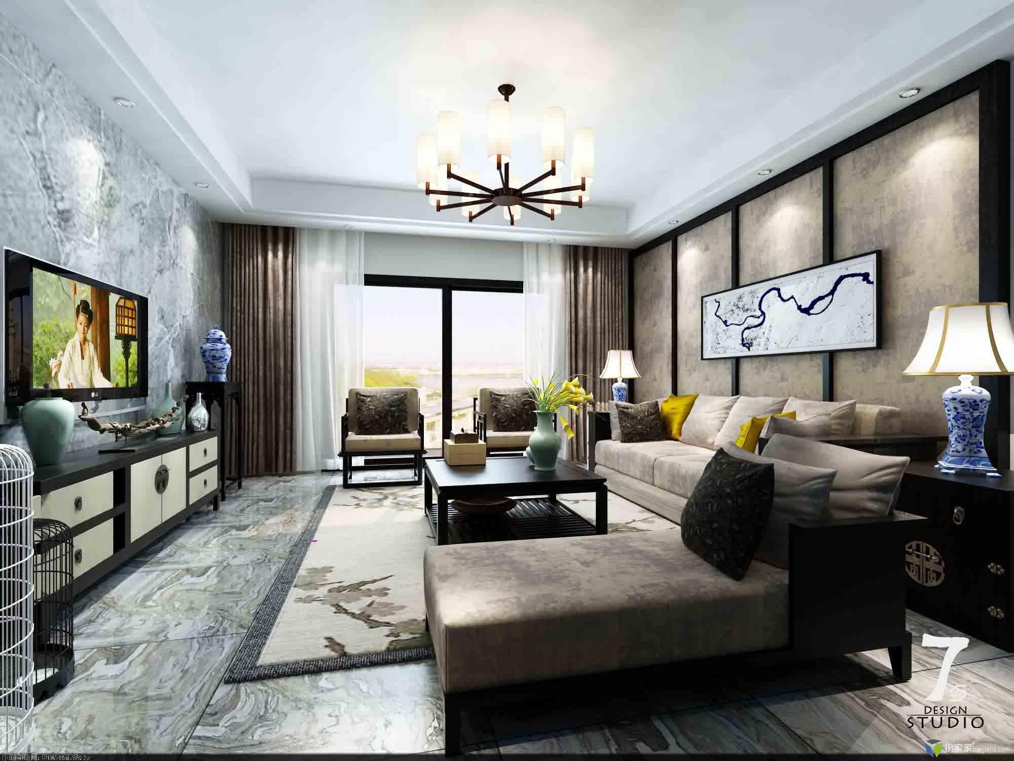 新中式客厅 - 扮家家室内设计网
