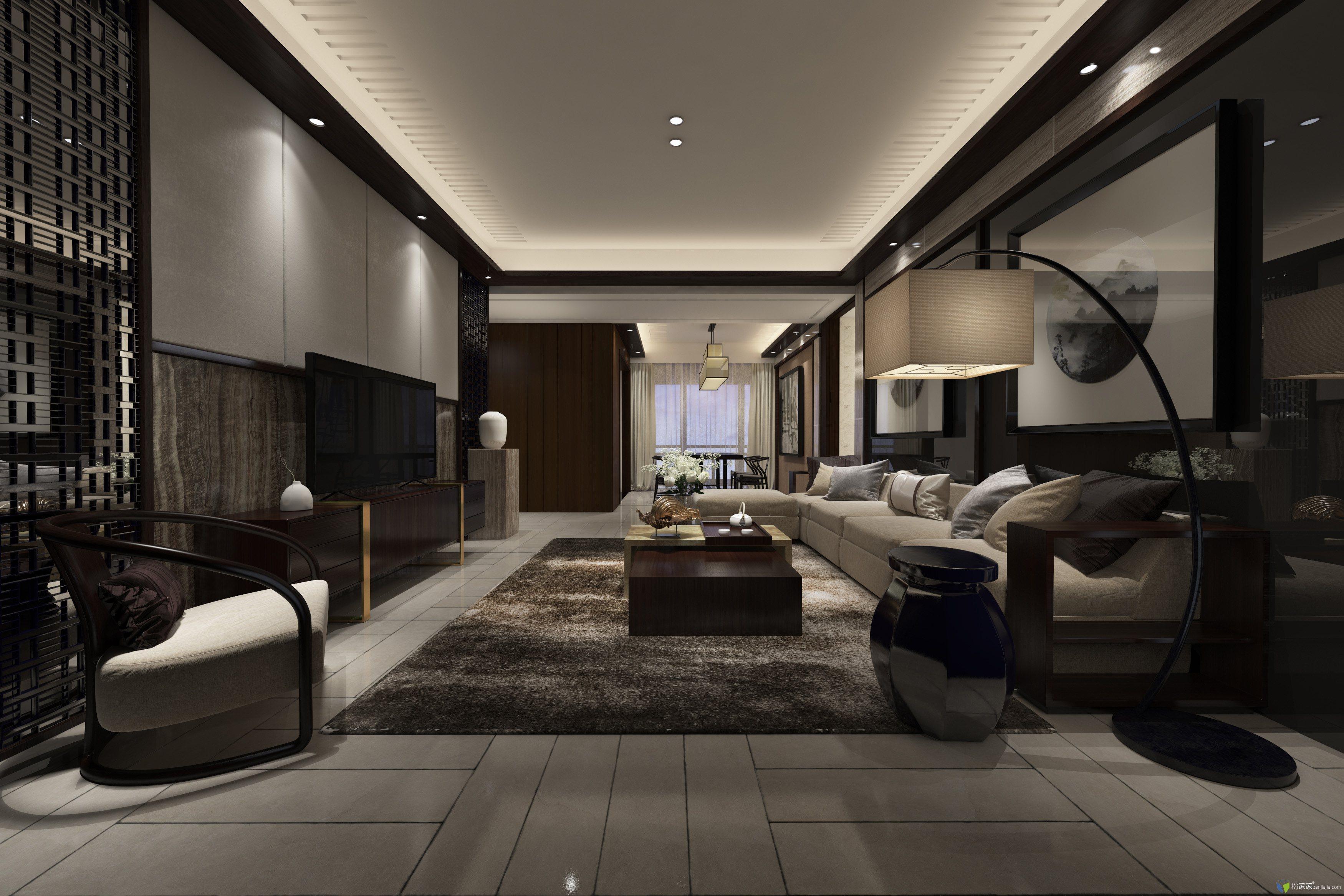 中式空间写实渲染 - 扮家家室内设计网