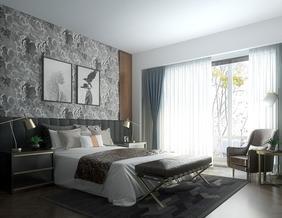 12号作品:#效果表现#现代卧室日景写实表现【一只路过的设计师】