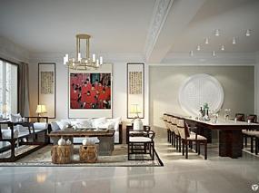 【3D效果图点评第28期】新中式&美式客厅