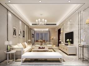 【3D效果图点评第42期】新中式客厅