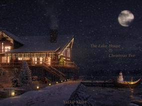 圣诞夜の湖边小屋