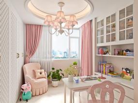 粉色系小孩房案例效果图