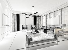 【效果表现第3期】现代风格客厅渲染