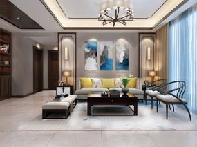 【3D效果图点评第34期】新中式客厅