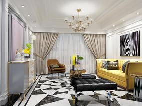 【3D效果图点评第40期】后现代客厅&现代浴室