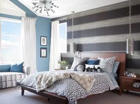 12个条纹风格卧室墙壁软装搭配设计