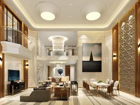 正流行的现代轻奢风格效果图,天古装饰别墅设计案例