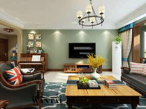 【薄荷绿的清新范】济宁南风花园小区180平美式田园风格的装修效果图设计案例