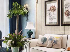 金阳美的林城155平创意三室一厅地中海风格装修设计案例效果图