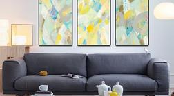 色彩 手绘油画 现代简约抽象风格玄关竖版装饰画.