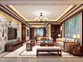 【3D效果图点评第2期】新中式客厅 夜景打灯
