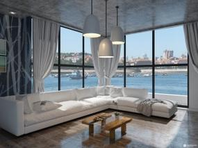 【3D效果图点评第11期】现代工业风格客厅